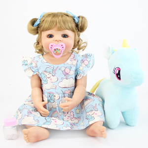 55cm Full Silicone Body Reborn Baby Doll Toy For Girl Vinyl Newborn Blonde Princess Toddler Babies Bebe Bathe Birthday Gift(China)