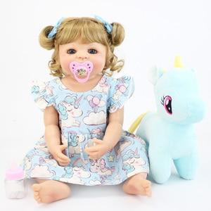 55cm Full Silicone Body Reborn Baby Doll Toy For Girl Vinyl Newborn Blonde Princess Toddler Babies Bebe Bathe Birthday Gift(China)