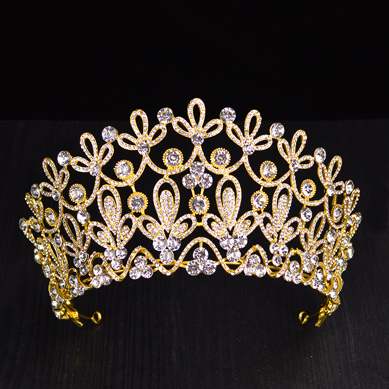 Image 4 - New Gold Silver Color luxury Big Crystal Tiaras Ctrstal Rhinestone Pageant Crowns Baroque Wedding Hair Accessories HG 036-in Hair Jewelry from Jewelry & Accessories