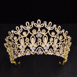 Image 4 - Novo ouro cor prata luxo grande cristal tiaras ctrstal strass pageant coroas barroco casamento acessórios de cabelo HG 036