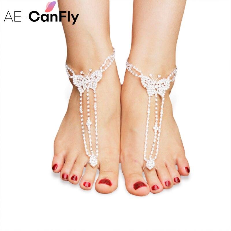 AE-CANFLY Mode Cheville Bracelet Brillant Strass Papillon Cheville Chaussures De Mariage De Plage 1 PC AL123