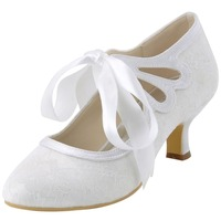 New D HC1521 Ivory White Women Girl Mary Jane shoes Ribbon Champagne Comfortable Mid Heel Close Toe Bridal Wedding Mother Shoes