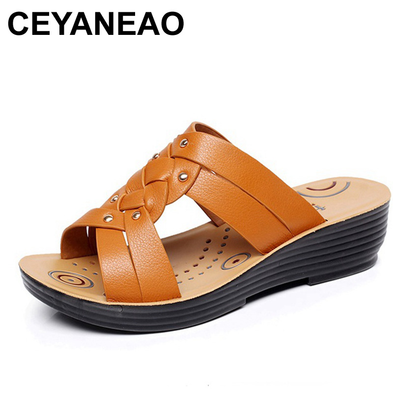 2ed5712e1e1 CEYANEAO Summer Mother High Quality Leather Slippers Women Soft Large Size  Pregnant Slippers Ladies Casual Flat Wedges Sandals
