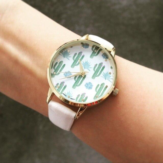 d5e038c2d9a6 DHL gratis 100 unids lote marca nueva OKTIME Cactus reloj para mujeres de  cuero de