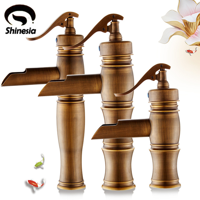 european style antique brass bathroom faucet single lever handle