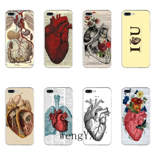 Vintage Medical Anatomical Heart Diagram Slim silicone Soft phone