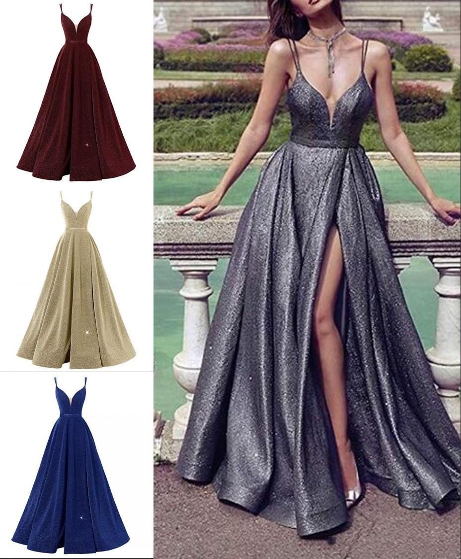 vestido de festa Ensotek 2019 New Gradient Split   Evening     Dresses   Sequin V Neck Contrast Color Party Gown Formal Prom   Dress