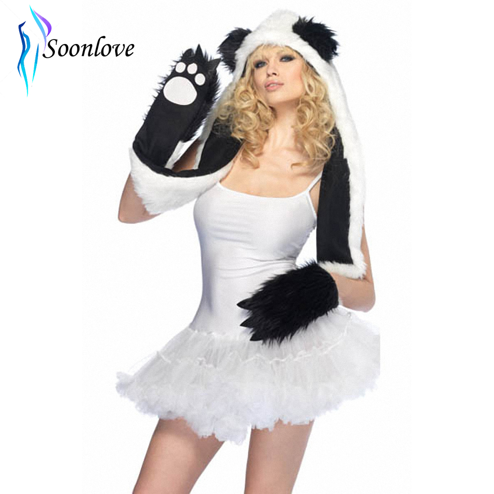 Super Warm Faux Fur Winter Plush Animal Hood Plush Panda Hood Hat With Paw Scarf Cap