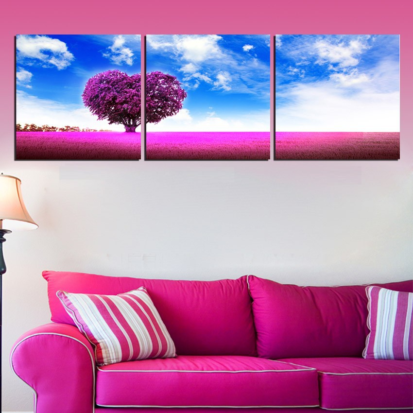 3 Pieces Canvas Painting Blue Sky Red Grass Romantic Art ...