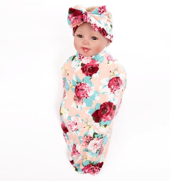 2017 дети ѕеленальное Ндеяло и бантом ?веточные Ћуки повязка на голову бутон цветка одеяло для девочек реквизит пелЄнки из муслина с запахом