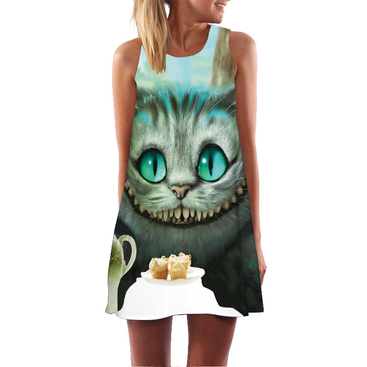 UIDEAZONE Summer Cute Women Dress Cat Character Life Tree Letter Printed Dresses Femme Casual Girlish Elegant Graceful Dress