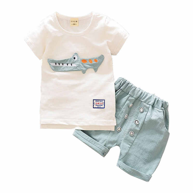 2019 boys summer Korean fashion 1-4 years old male baby two-piece short-sleeved children's cotton small gentleman suit