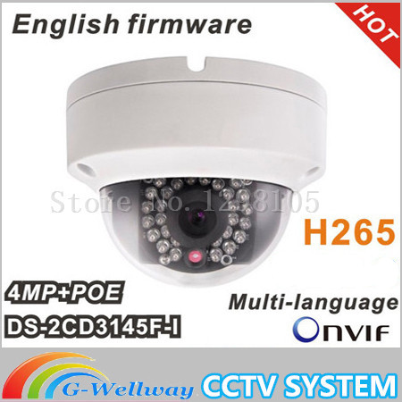 Multi-Language DS-2CD3145F-I Full HD 4MP Support H.265 HEVC with TF Card Slot Mini Dome POE IP CCTV Camera newest hik ds 2cd3345 i 1080p full hd 4mp multi language cctv camera poe ipc onvif ip camera replace ds 2cd2432wd i ds 2cd2345 i