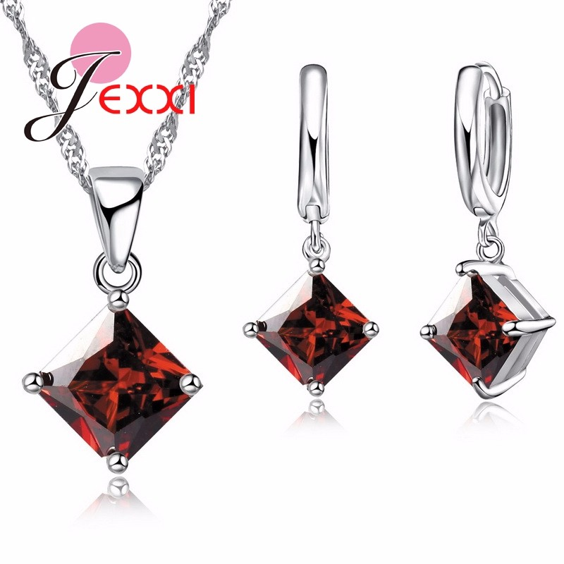 Fine Bridal Jewelry Sets For Wedding Women 925 Sterling Silver Pendants Necklace Earrings Set Top Quality