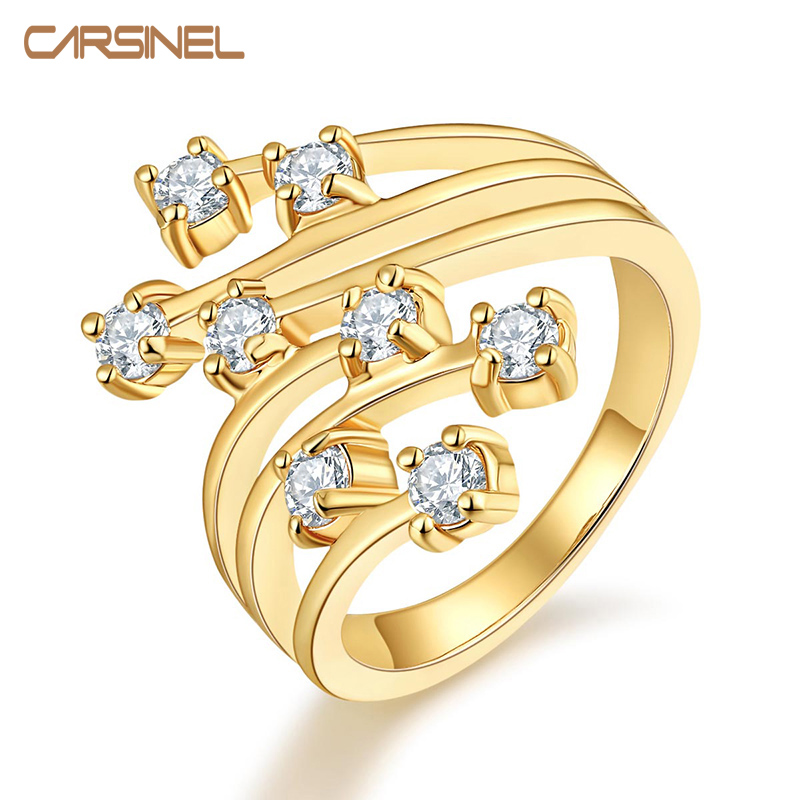 carsinel brand fashion top quality gold color rings elegant jewelry cz zircon hypoallergenic rings for - Hypoallergenic Wedding Rings