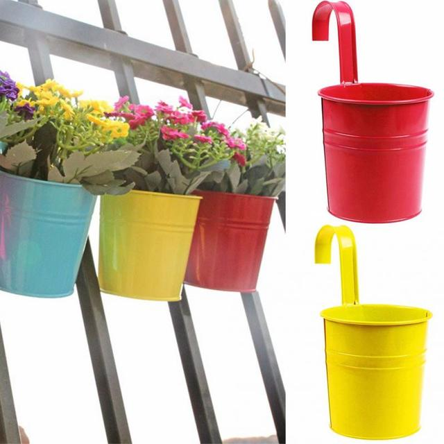 3 Colors Hanging Flower Pot Hook Wall Pots Pail Iron Flower Holder Balcony  Garden Planter Home