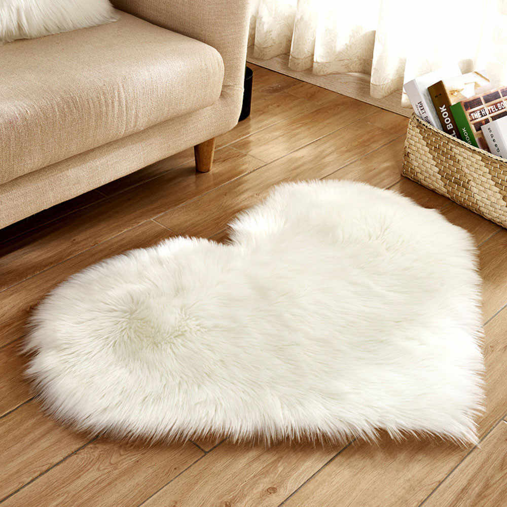 Multi color solid long fur heart shape rugs carpets for home living room fur seat cover tapede infantil tapis chamb