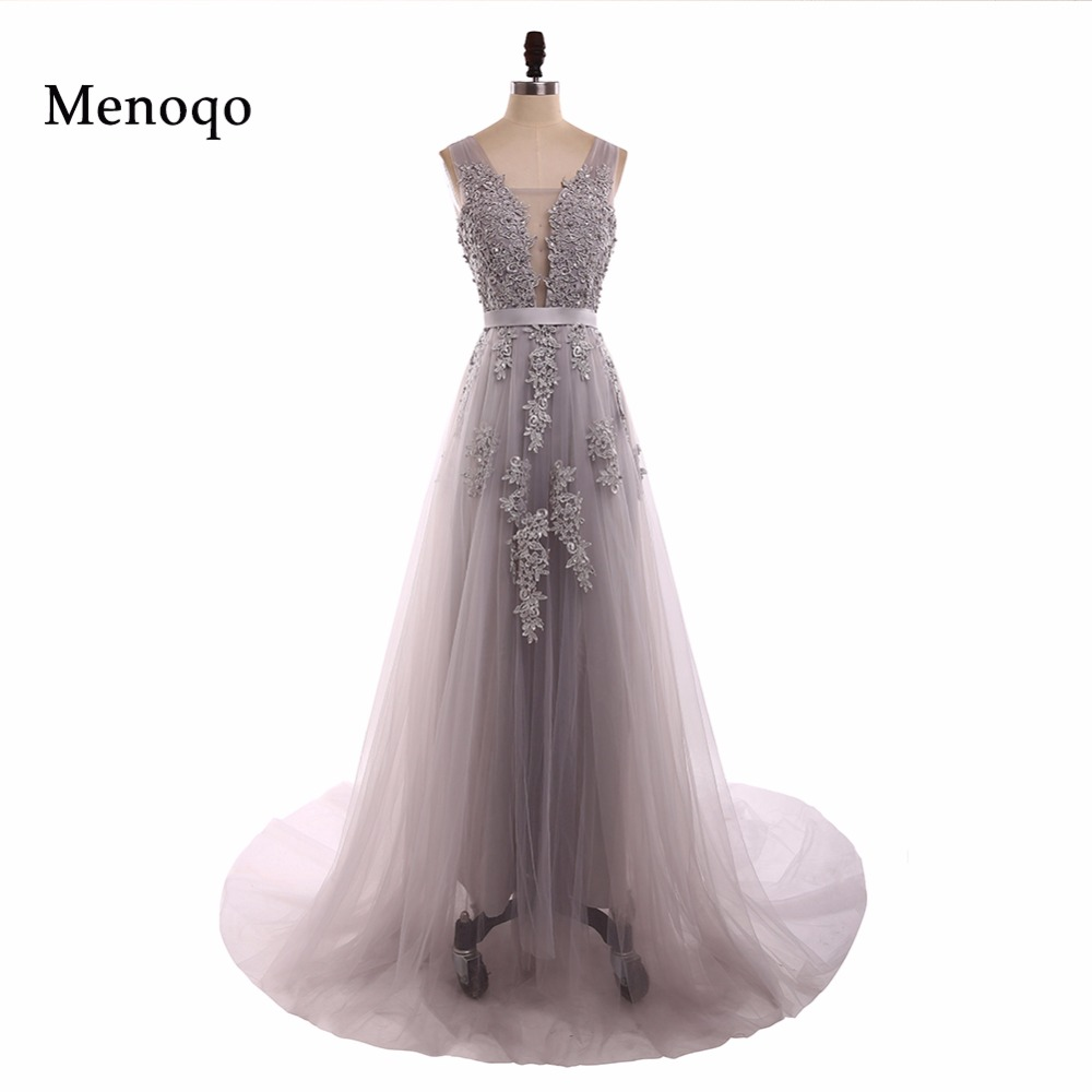 Robe De Soiree Applique Tulle Sexy Long Evening Dresses Bride Banquet Elegant Floor-length Party Prom Dresses