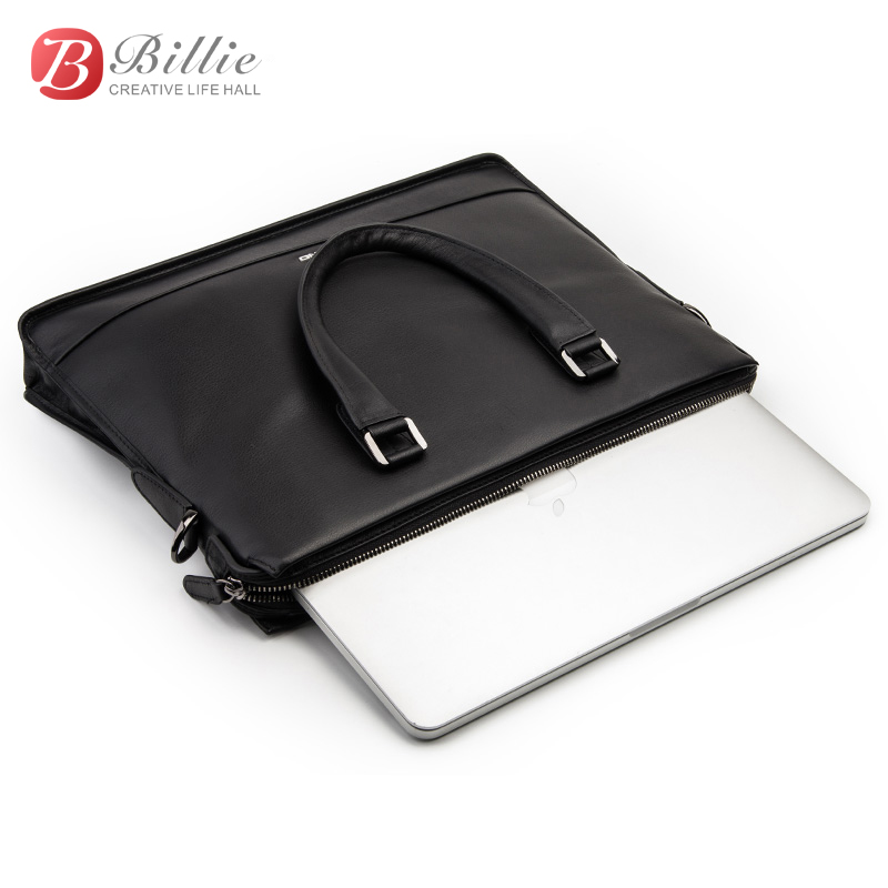 "Image 4 - Laptop bag case For Macbook Asus Dell 12""13""14"" Deluxe Genuine Men's Briefcase High Quality handbag computer bags Notebook bag-in Laptop Bags & Cases from Computer & Office"