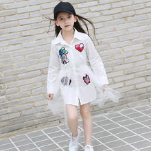 2017 New Cotton Shirt Net Yarn Dress Decal Long Sleeve Shirt Female Shirt Summer Dress Fall Girl Child Party Size 6-16 T