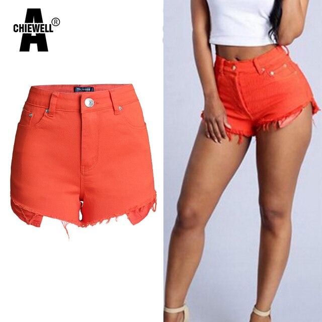 Achiewell Summer Casual Women Shorts High Waist Tassel Edges Orange/Blue/Green Short Jeans Bottoms