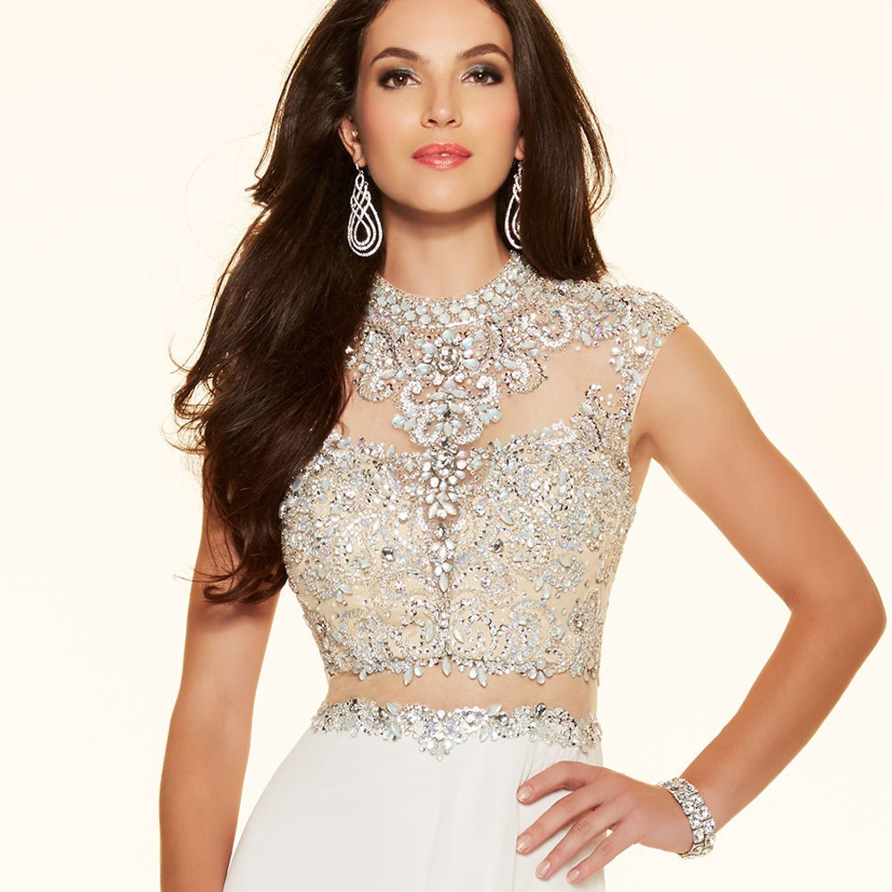Sparkly Crystal Crop Top Flowing Split A-Line One Piece Evening Dress 6