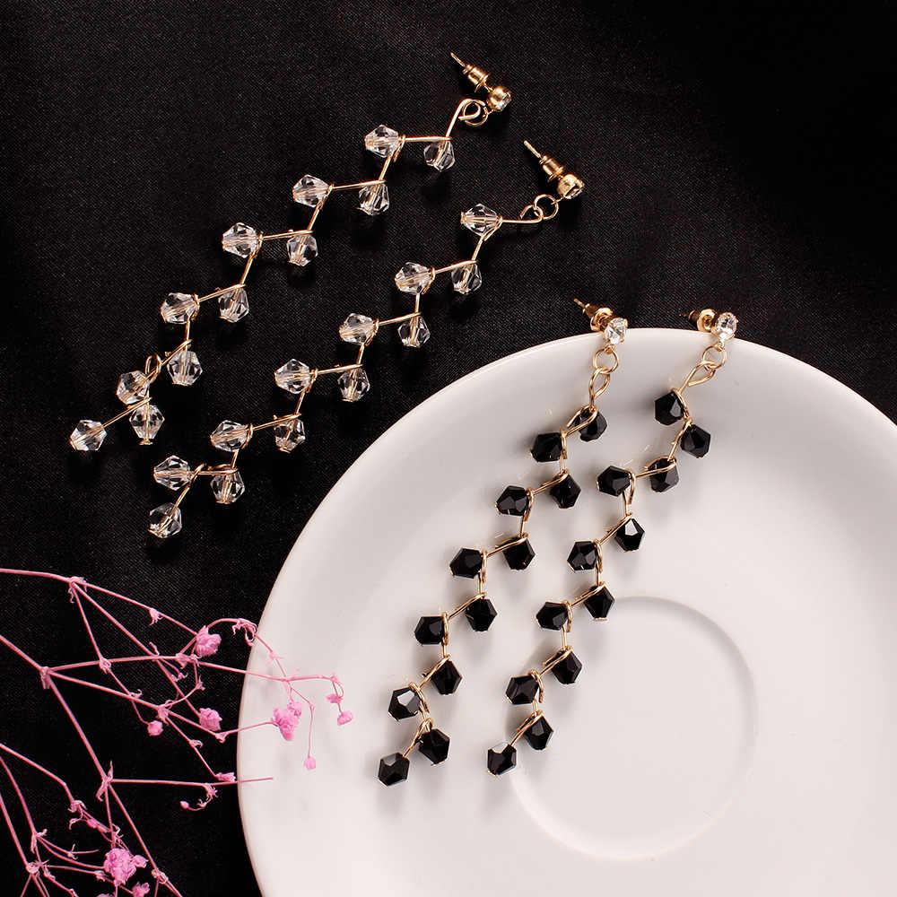 Long Tassel Earrings for Women 2018 Nature Stone Earrings white and black Tassel Drop Earrings Female Jewelry about