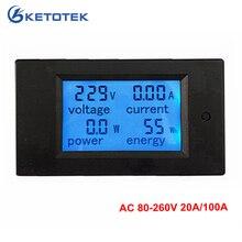 Новинка, 4 в 1 метр, измеритель напряжения, тока, энергии, измеритель переменного тока, 80-260 В, 20A, 100A, вольтметр, амперметр, ватт, измеритель мощности, Синяя подсветка