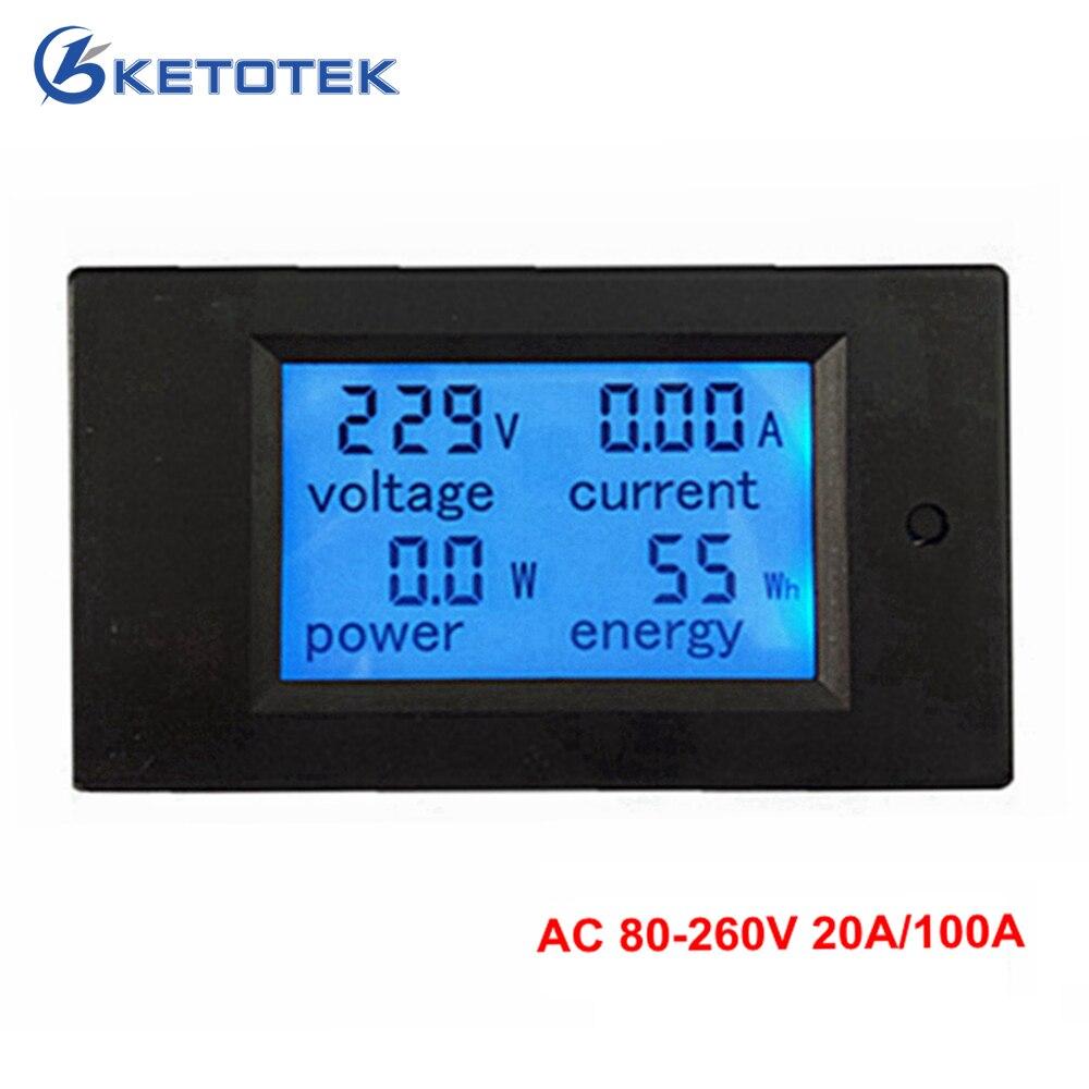 4 En 1 metro del voltaje de corriente de energía de la energía de AC 80-260 V 20A 100A voltímetro amperímetro watt medidor de potencia de fondo azul