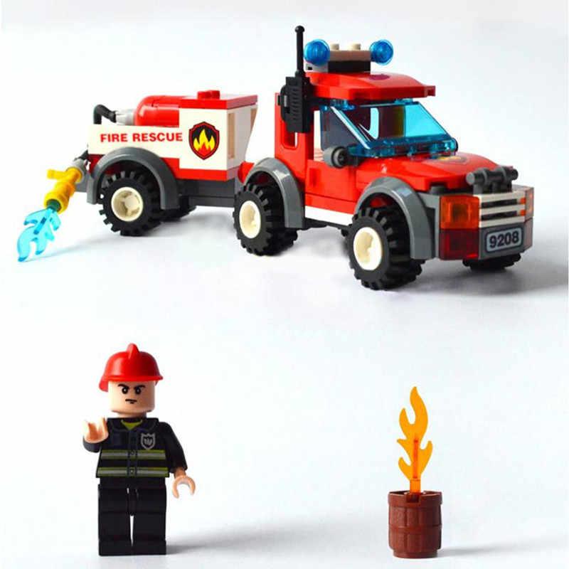 النار الانقاذ شاحنة Legoed نموذج اللبنات كيت الأطفال التعليمية تجميع الطوب لعب الاطفال هدية الجملة