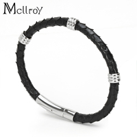 Mcllroy 5mm Real Snake skin Bracelet Men Stainless Steel Leather Braid Bracelet With Magnetic Buckle Claps leather Bangle