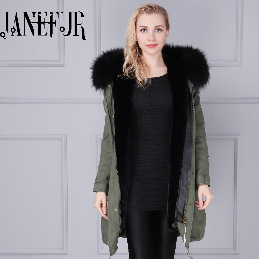 Womens Famous Brand Genuine Faux Fur Lining Hood Parka Jacket Woman Green Army Raccoon Fur Hooded Lined Warm Parkas Coat Tops zip up faux fur hood parka jacket