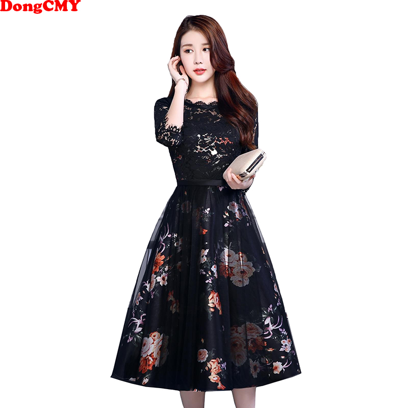 DongCMY New 2019 Flower Short   Prom     Dresses   V-Neck Black Color Party Elegant Vestido Gowns