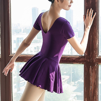 Ballet Leotard For Women New Pure Cotton Purple Ballet Skirt Adult Dance Practice Customes Gymnastics Leotard