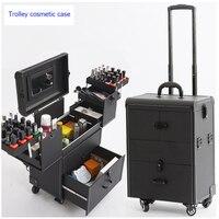 Женский чемодан на колесиках для косметики для ногтей, набор инструментов для макияжа, многослойный чемодан на колесиках, коробка для красо