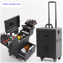 Woman Trolley Cosmetic case Nails Makeup Toolbox,Multi-layer Trolley Case ,PVC Beauty Box Travel  Rolling Luggage Suitcase wheel