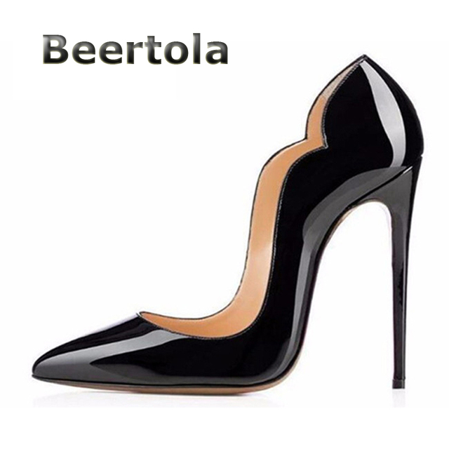 2ce0eef3d0 US $30.04 25% OFF|Aliexpress.com : Buy Beertola Ladies Shoes On Sale Sexy  Pointed Toe Scalloped High Heels Patent Leather Curved Sides Women Pumps ...