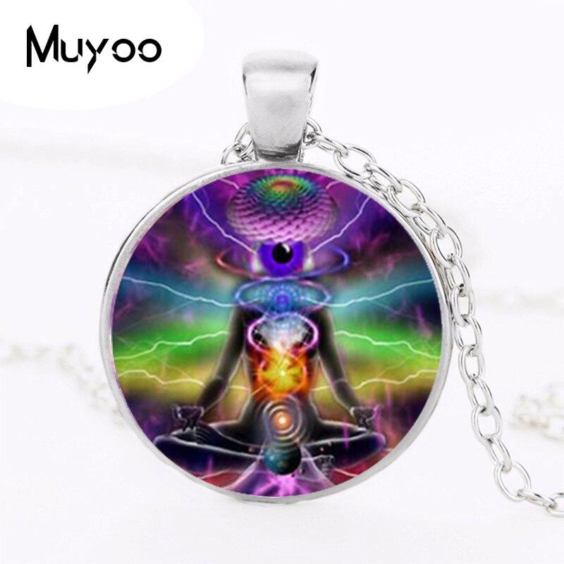 Chakra yoga necklaces pendants bronze chain Hinduism necklace sign meditation photo necklaces mandala Zen necklace HZ1