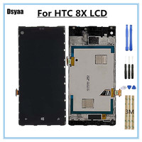 4.3 Inch for HTC Windows Phone 8X LCD with Frame Touch Screen Digitizer Display Full Assembly Repair Parts Smartphone Accessory