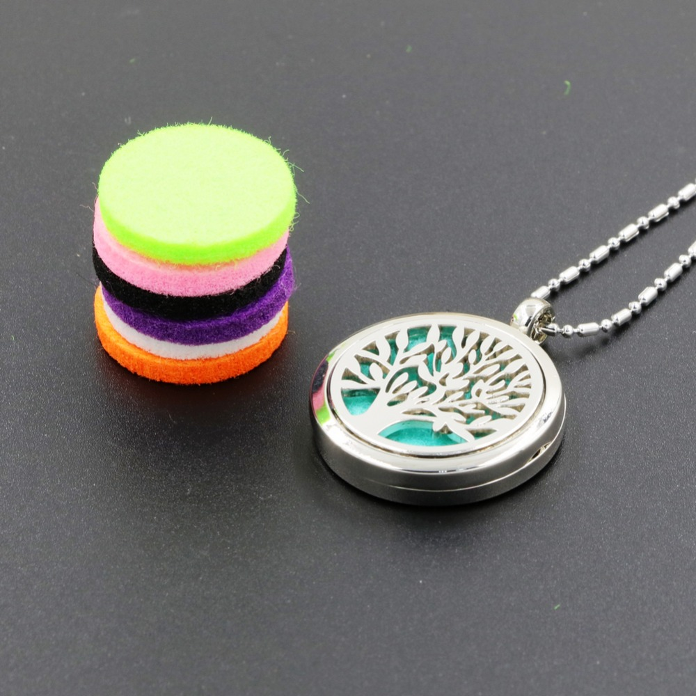 10PCS/Lot Essential Oil Diffuser Necklace Aromatherapy Diffuser Locket Pendant Set with 5 Color felt pads and 1PC chain 001