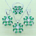 Gallant Green Created Emerald Jewelry Set For Women White Imitation Topaz Silver color Zircon Rings/Earrings/Necklace