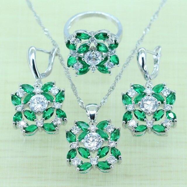 51bb970ee86b Gallant verde creado Esmeralda joyería Set para mujeres blanco rhinestone plata  color ZIRCON Anillos Pendientes