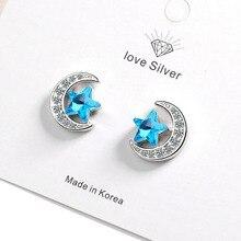 KOFSAC Hot Charm Zircon Moon Blue Star Stud Earring Lady Jewelry Shiny 925 Sterling Silver For  Women Birthday Presents