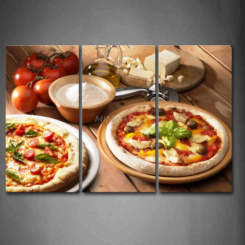 3 piece wall art painting pizza with tomatoes and mushroom for 3 pieces cuisine