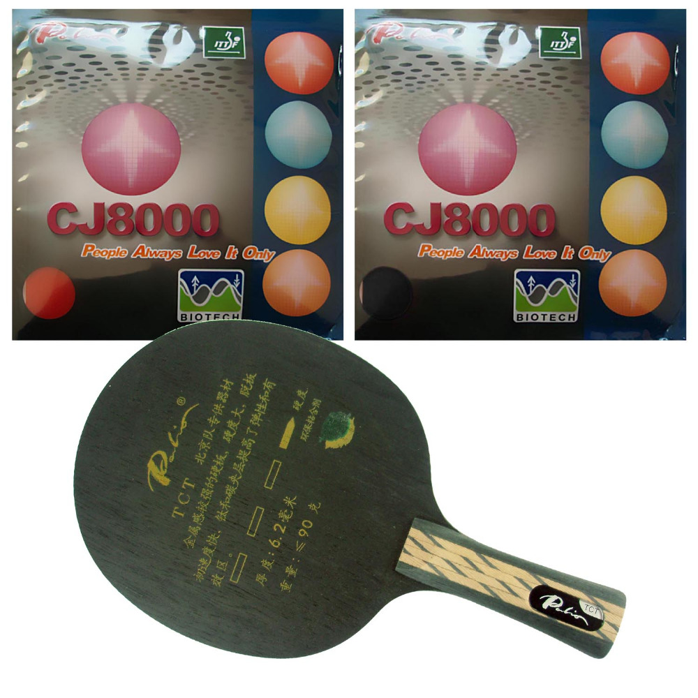 Pro Table Tennis/ PingPong Combo Racket: Palio TCT Blade with 2x Palio CJ8000 (BIOTECH) 36-38 degree Rubbers Long Shakehand FL pro table tennis pingpong combo racket dhs power g7 blade with 2x palio ak 47 red matt rubbers shakehand long handle fl