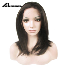 Anogol #2 Dark Brown High Temperature Fiber Black Medium Shoulder Length Straight Bob Synthetic Lace Front Wig With Free Part