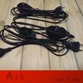 Европейский VDE Утверждения 2.5 Метр ЕС Black Cable with 2 Round pin Plug онлайн Диммер Переключатель Провод для Таблицы/Торшер