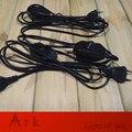 Aprovação VDE europeu 2.5 Meter UE Preto Fio de Cabo com 2 Round pin Plug em linha Interruptor Dimmer para Mesa/Lâmpada de assoalho
