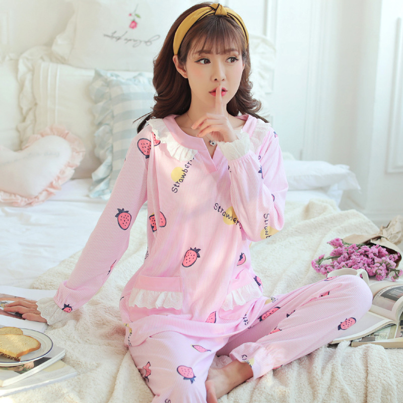 Dollplus Nursing Pajamas Maternity Clothes Cotton Pregnant Pajama Set Maternity Long Sleeve Tops&Pants Sleepwear Nightgown