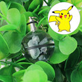 Pikachu Novelty Mini Portable Pokemon Go Engraving Round 3D Crystal Glass Ball LED Keychain Colorful Pendant Child Christmas